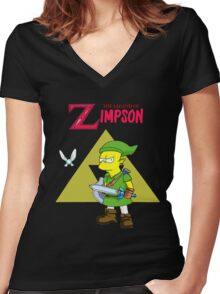 The Legend Of Zelda Fan ART Women's Fitted V-Neck T-Shirt