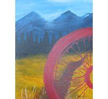 Red Wheel Mountain Bike  Trail Photographic Print
