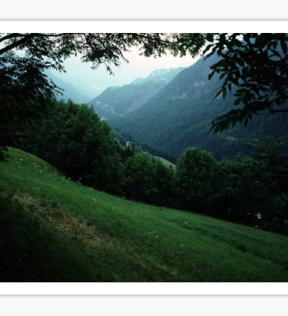 Valley in Part of Piene area of Dolomites Italy 19840809 0018  Sticker