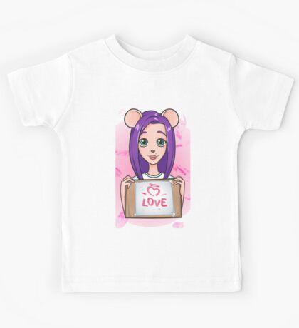 Girl Mouse declaration of love Kids Tee