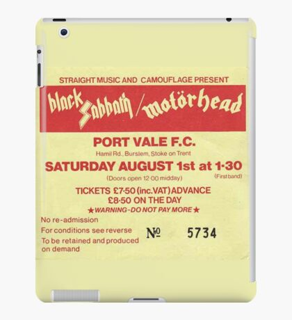 Classic- Heavy Metal Concert- Ticket Stub iPad Case/Skin