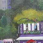 Colorful Purple cafe painting by Melissa Goza