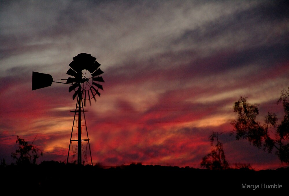 Texas Windmill Glorious Sunset by Marya Humble