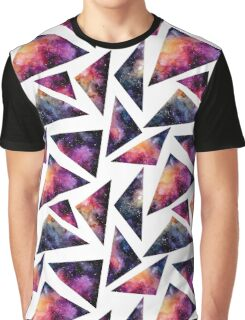Watercolor Red and Pink Nebula in Triangles Graphic T-Shirt