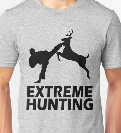 Extreme Hunting Deer Karate Funny Cute T Shirt For Hunt Hunter Season Black Letters Unisex T-Shirt