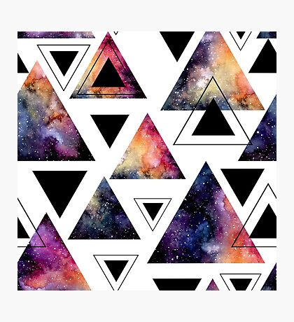 Watercolor Triangles and Colorful Galaxy Photographic Print