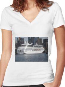 Cruise Ship, Hudson River, New York City Women's Fitted V-Neck T-Shirt
