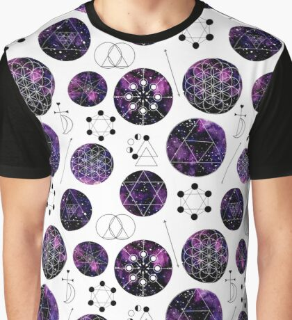 Watercolor Violet Galaxy and Sacred Geometry Graphic T-Shirt