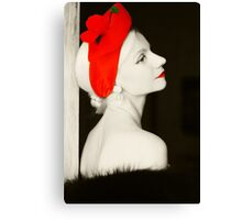 Woman retro portrait stylish photo Canvas Print