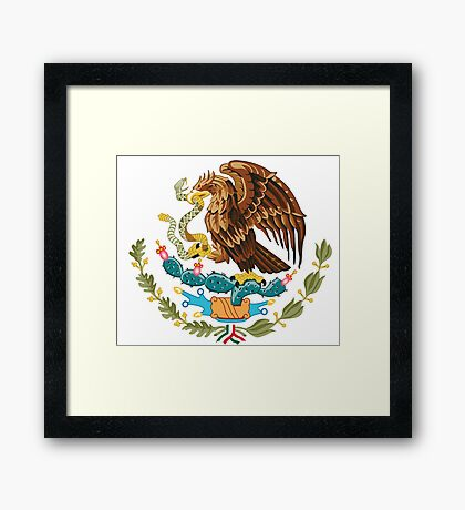 Mexico Coat of Arms - Mexican Flag Framed Print
