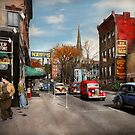 City - Amsterdam NY - Downtown Amsterdam 1941 by Mike  Savad