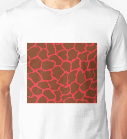 Imperial Red or Red (Pantone) in Giraffe Pattern  Unisex T-Shirt