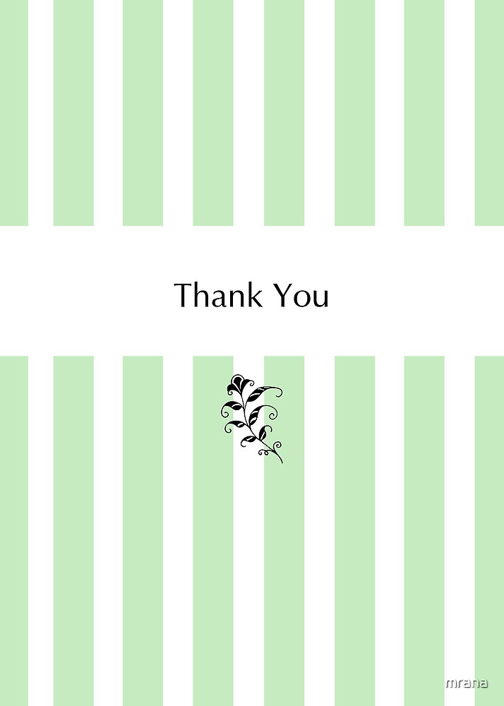 Mint Candy Stripes Thank You by Mariana Musa
