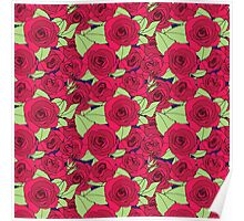 Vintage Victorian Red Rose Flower Pattern Poster