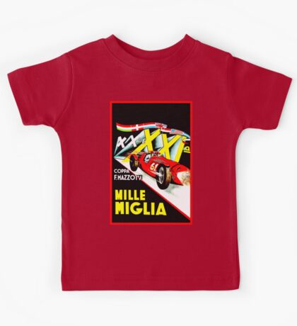 MILLE MIGLIA; Vintage Auto Racing Advertising Print Kids Tee