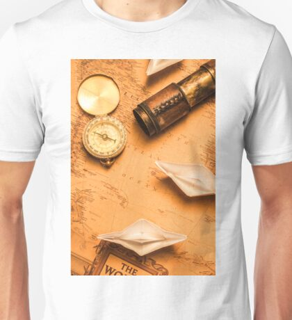 Origami paper boats on a voyage of exploration Unisex T-Shirt