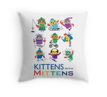 Kittens with Mittens Throw Pillow