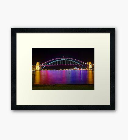 Sydney Harbour Bridge and Opera House in lights Framed Print