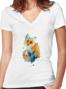 Charlotte's Watercolour Fox (White) Women's Fitted V-Neck T-Shirt