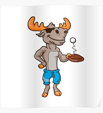 Funny illustration of a moose with racket and ball Poster