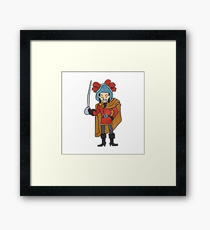Musketeer Cape with Saber Cartoon Framed Print