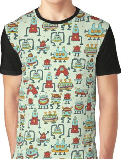 A pattern of robots and aliens. Graphic T-Shirt