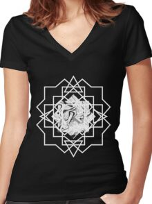 MARBLED INTERSECTION Women's Fitted V-Neck T-Shirt