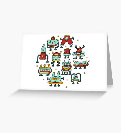 Funny robots-aliens in the circle. Greeting Card