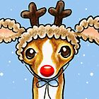 Italian Greyhound Red Nose Reindeer by offleashart