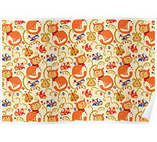 RED cat BLUE bird pattern. Poster