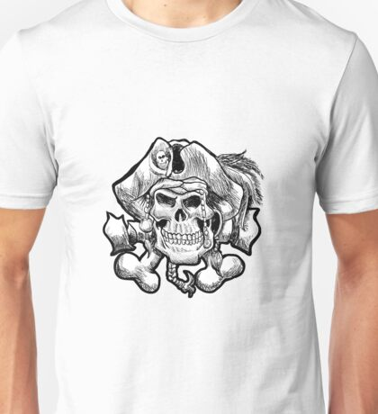 pirate skull in a bandana and a hat with feathers. Unisex T-Shirt