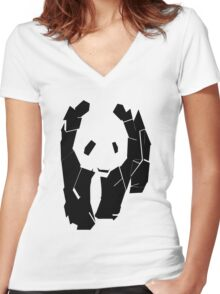 Panda At The Corner Women's Fitted V-Neck T-Shirt