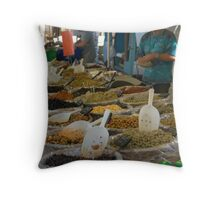 The olive stall Throw Pillow