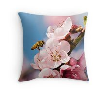 Bees and Blossoms Throw Pillow