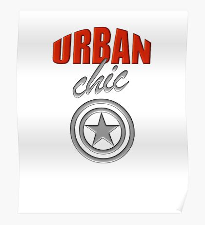 Urban Chic fiery orange-red and metallic silver logo-style design Poster