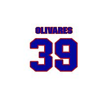 National baseball player Omar Olivares jersey 39 Photographic Print