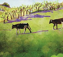 Young cows in green pasture by LisaThorpe