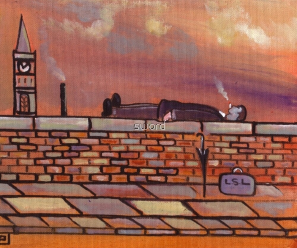 Man lying on a wall (from my original painting) by sword