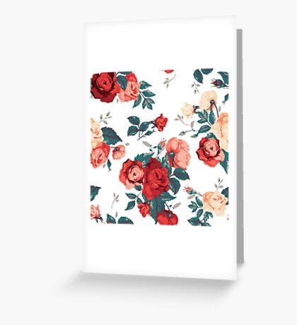 Vintage Flowers - White Greeting Card