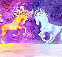 Fire and Ice Unicorn Fight Watercolor Painting by Anila Tac