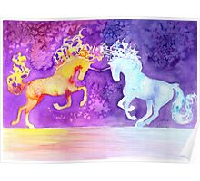 Fire and Ice Unicorn Fight Watercolor Painting Poster