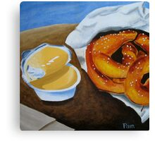 Soft Pretzels with Cheese Dip Canvas Print