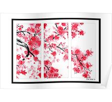Cherry Blossom Tryptich Poster