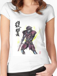 Javik from Mass Effect sumi and watercolor style Women's Fitted Scoop T-Shirt