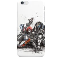 Shepard, Garrus and Liara trio sumi and watercolor style iPhone Case/Skin