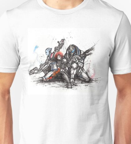 Shepard, Garrus and Liara trio sumi and watercolor style Unisex T-Shirt