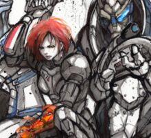 Shepard, Garrus and Liara trio sumi and watercolor style Sticker