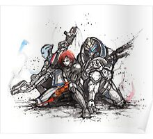 Shepard, Garrus and Liara trio sumi and watercolor style Poster