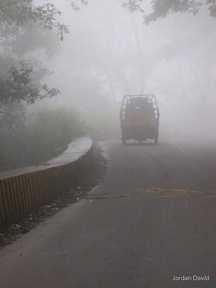 truck in the mist by Jordan David