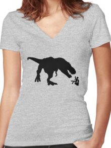 Jurassic Park T-rex Eats Man on Toilet Funny Women's Fitted V-Neck T-Shirt